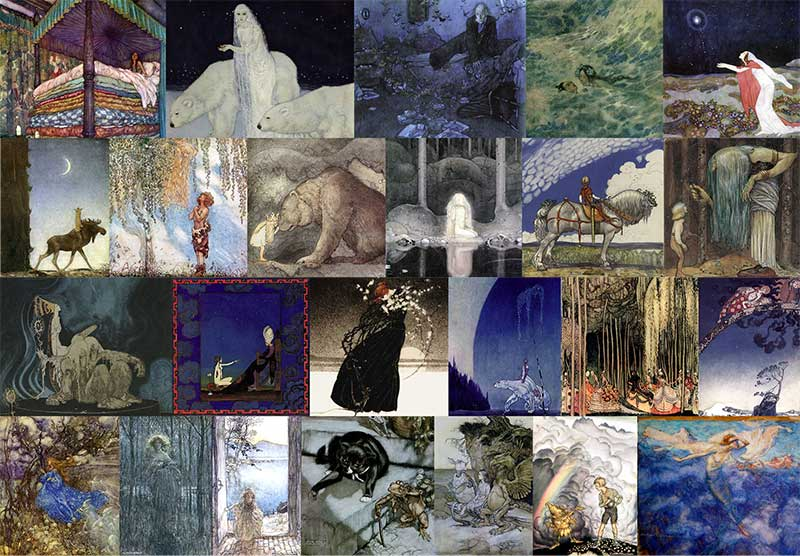 Pinned for later from artpassions.net:  Top Row: Edmund Dulac - Real Princess, Dreamer of Dreams, Entymologist's Dream, Little Mermaid, Stealers of Light.  Second Row: John Bauer - Leap the Elk, He Found Her Hiding in a Tree, Princess Tuvstarr, Into the Wide World, You Mean This Herb?  Third Row: John Bauer - Three Trolls, Scheherazade, Story of a Mother, East o' the Sun West o' the Moon, Twelve Dancing Pricesses, Far Far Away  Bottom Row: Arthur Rackham - Unpublished Fairy, Fair Helena, Undine at the Door, Poor Cecco, Alice in Wonderland, King of the Golden River, Alpine Rest