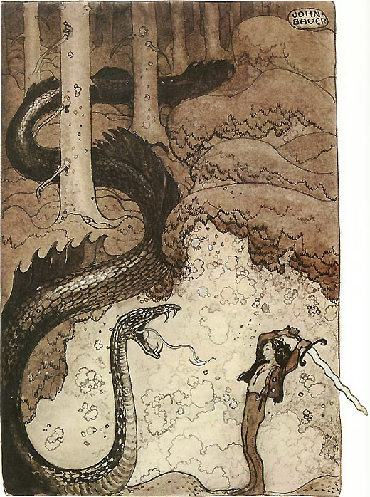 He Gave the Dragon a Mighty Blow  Sagovarld  John Bauer illustration