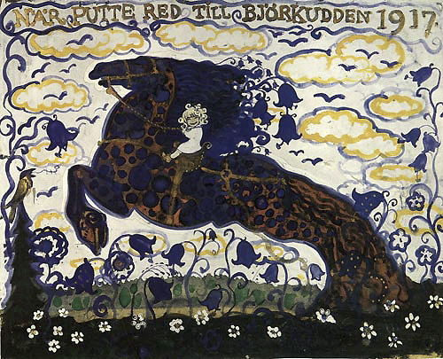 Putte Rode to Bjorkudden   Later Paintings  John Bauer illustration
