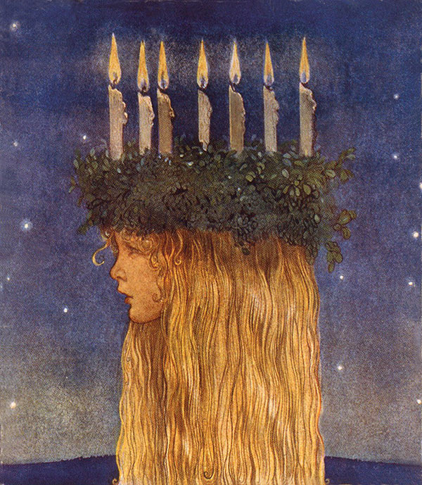 Lucia  Stamp design  John Bauer illustration