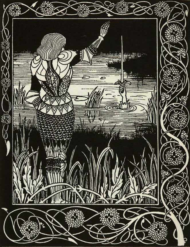 Excalibur rises from the lake, Aubrey Beardsley