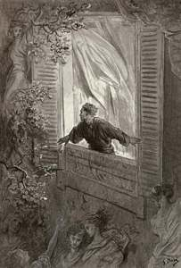 Then this ebony bird beguiling my sad fancy into smiling By the grave and stern decorum of the countenance it wore \u0027Though thy crest be shorn and shaven ... & The Raven by Edgar Allan Poe illustrated by Gave Dore Pezcame.Com