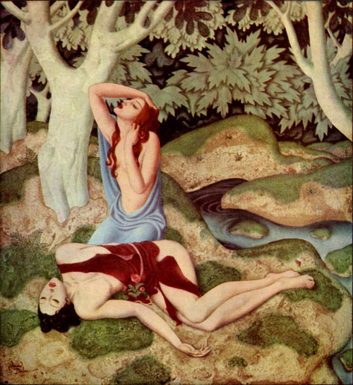 Gods and Mortals in Love: Aphrodite and Adonis     Gods and Mortals in Love  Edmund Dulac illustration