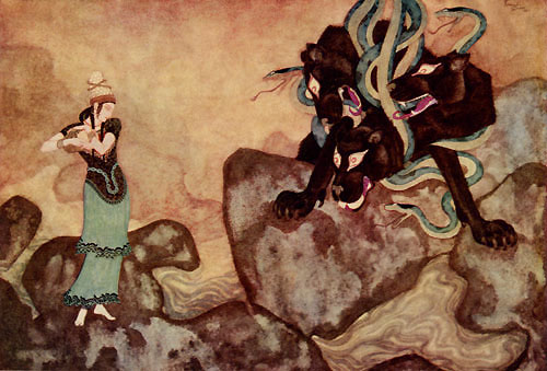 Cerberus, the Black Dog of Hades   Picture Book for the Red Cross  Edmund Dulac illustration