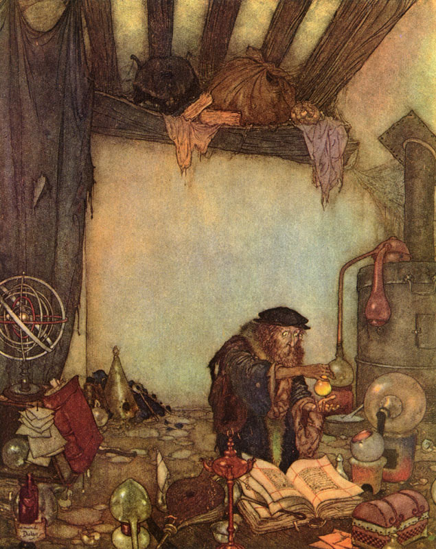 Gold! Gold! The Alchemist Shouted  Fairy Tales of Hans Christian Andersen  Edmund Dulac illustration