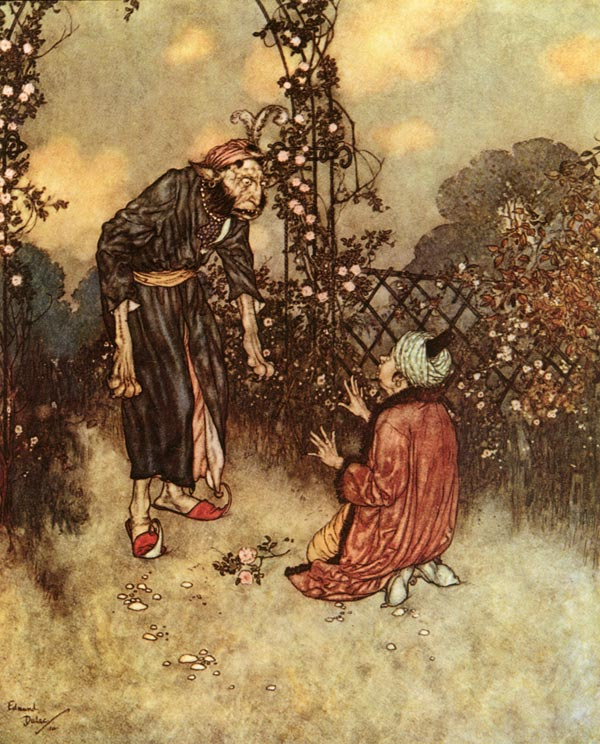 Her Father Dropped the Rose    Beauty and the Beast  Edmund Dulac illustration