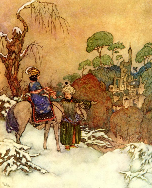 Beauty saw the castle in the distance    Beauty and the Beast  Edmund Dulac illustration