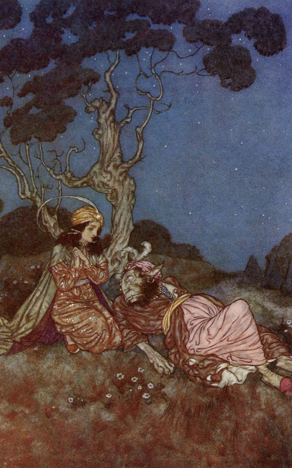 Yes Beast, I will Marry You   Beauty and the Beast  Edmund Dulac illustration