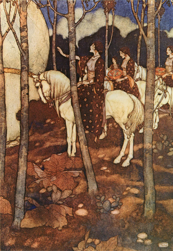 Maidens on White Horses    Arabian Nights  Edmund Dulac illustration