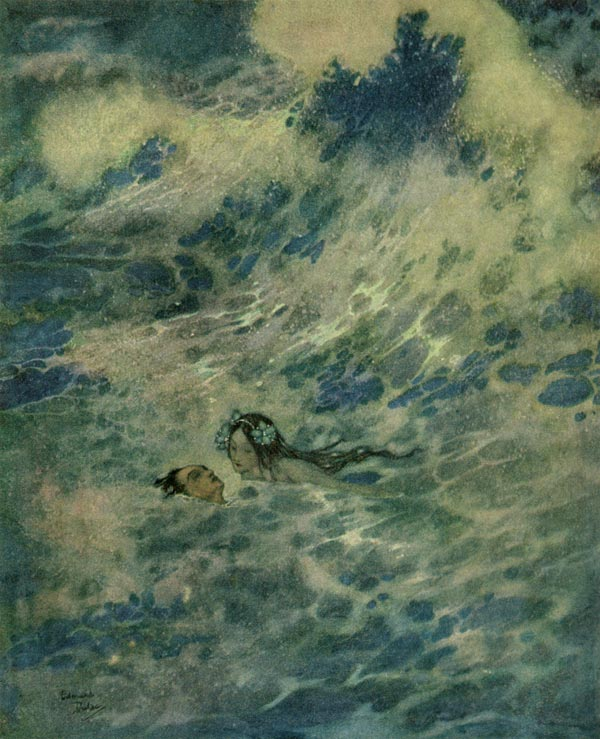 The Little Mermaid Saved the Prince    The Little Mermaid  Edmund Dulac illustration
