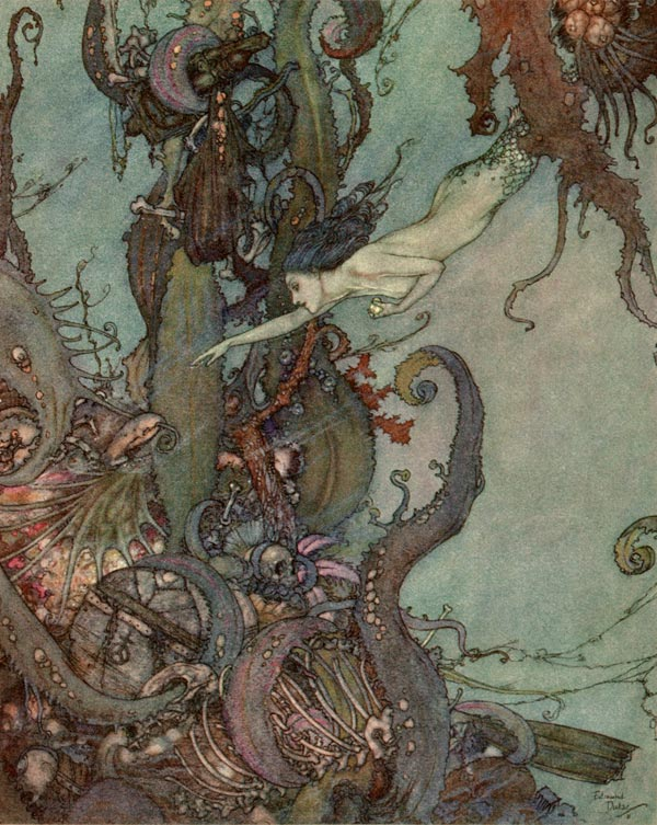 The bright liquid sparkled     The Little Mermaid  Edmund Dulac illustration