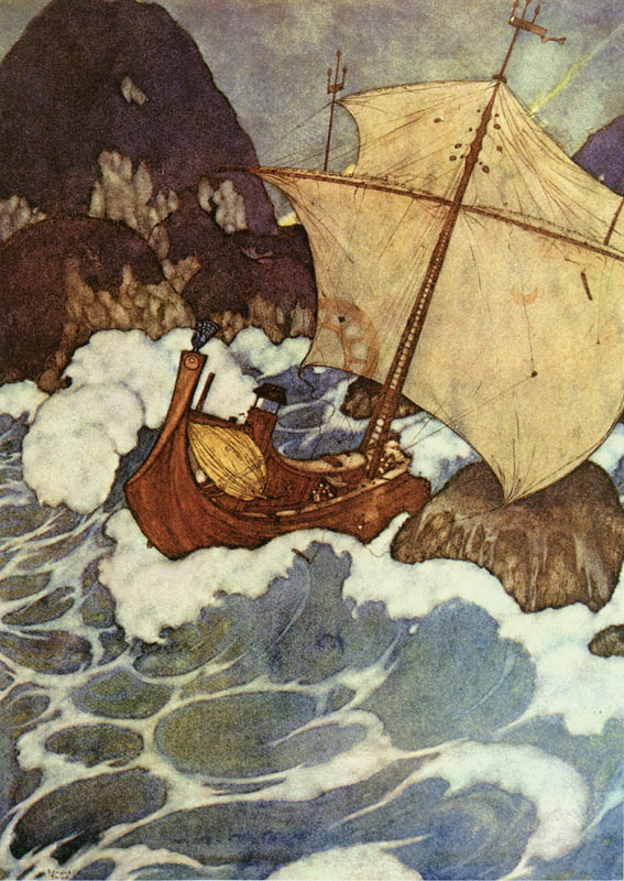 Arabian Nights: The Ship Struck Upon a Rock     Arabian Nights  Edmund Dulac illustration