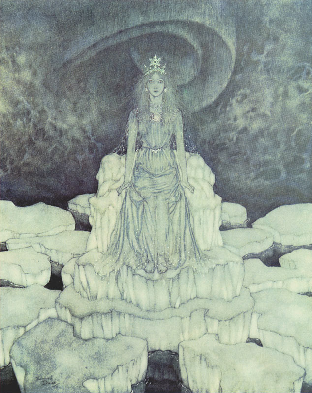 Snow Queen on Her Throne of Ice  The Snow Queen  Edmund Dulac illustration