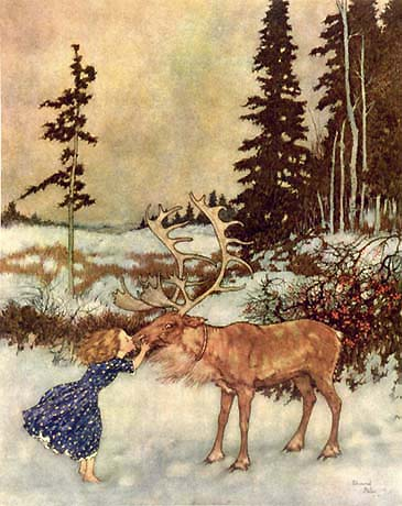 Gerda and the Reindeer    The Snow Queen  Edmund Dulac illustration