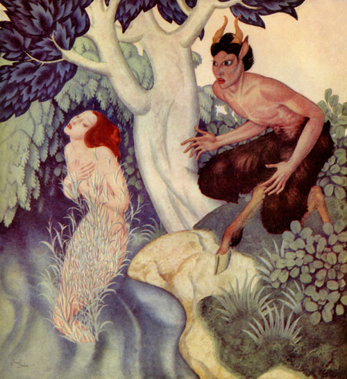 Pan and Syrinx  Gods and Mortals in Love  Edmund Dulac illustration