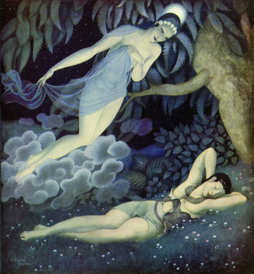 Selene and Endymion  Gods and Mortals in Love  Edmund Dulac illustration