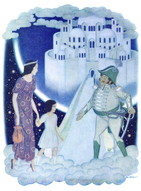 Edmund Dulac illustration to Daughters of the Stars, The Captain Greeted Them as Honored Guests