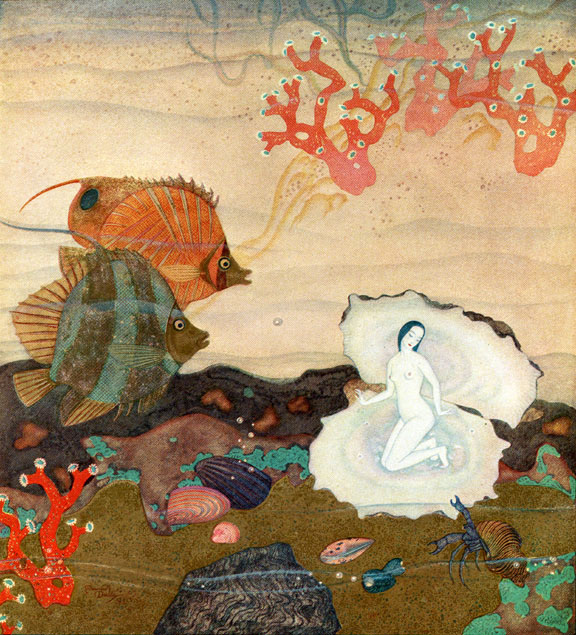 Birth of the Pearl  Kingdom of the Pearl  Edmund Dulac illustration
