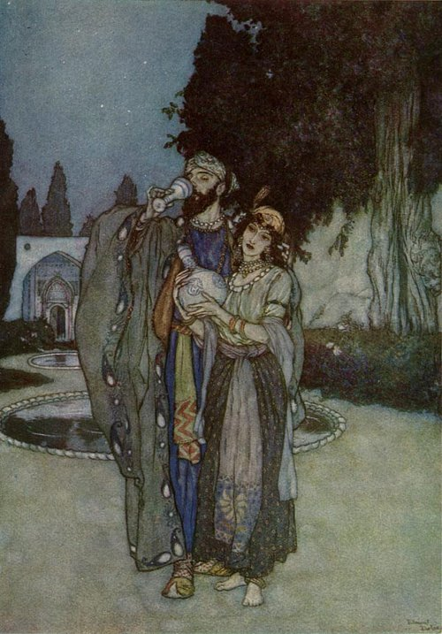Perplex no more with Human or Divine    Rubaiyat  Edmund Dulac illustration