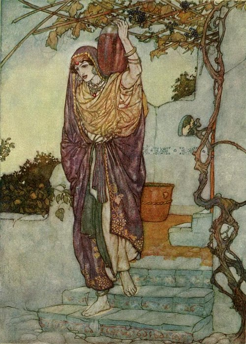Came shining through the Dusk an Angel Shape    Rubaiyat  Edmund Dulac illustration
