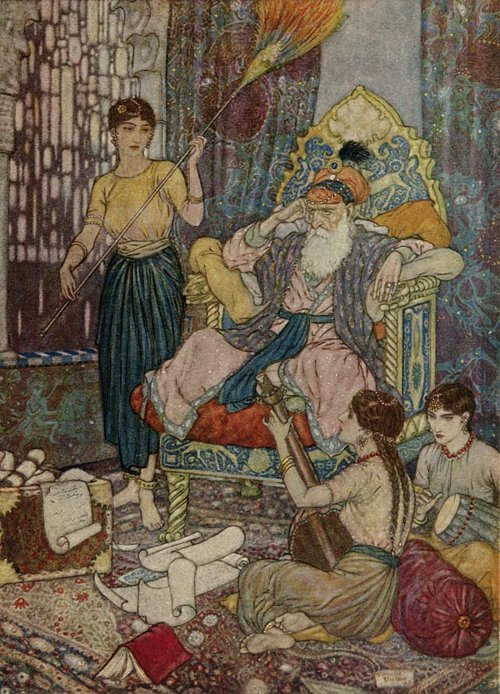 Peace to Mohammad on his Golden Throne    Rubaiyat  Edmund Dulac illustration