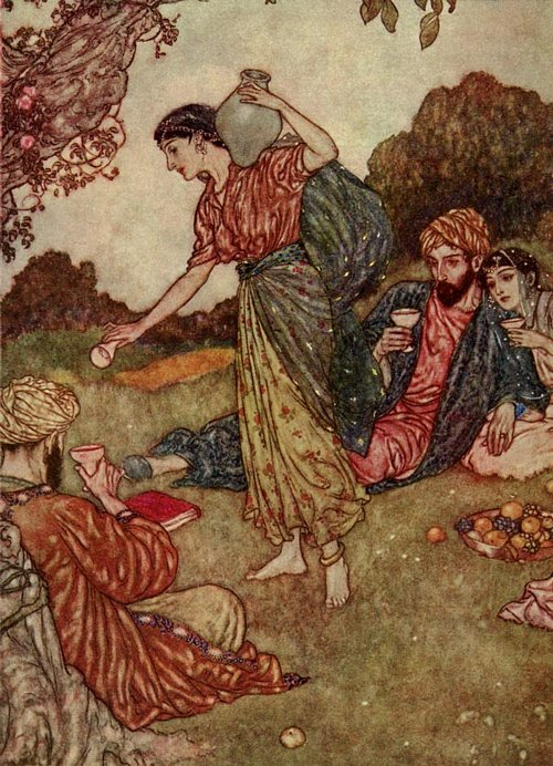 Where I made One - turn down an empty Glass!     Rubaiyat  Edmund Dulac illustration