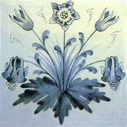 William Morris floral tile: Columbine