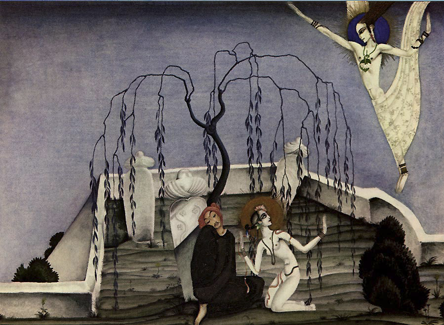 Lovers Meet in a Graveyard  Arabian Nights  Kay Nielsen illustration