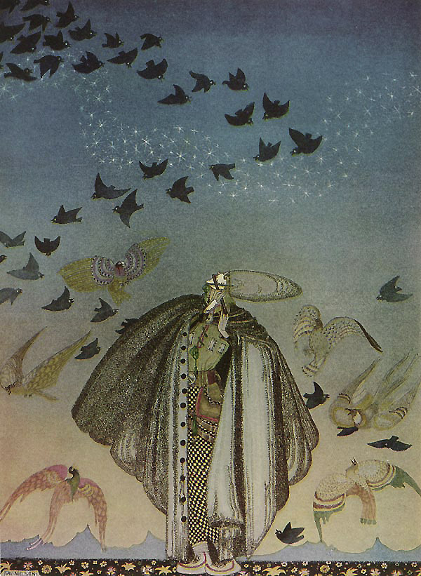 A Large Flock of Birds  The Three Princesses in the Blue Mountains  Kay Nielsen illustration