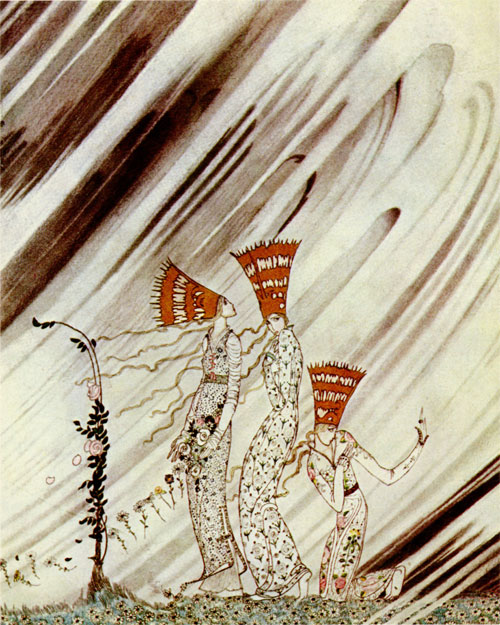 Three Princesses Blown Away by a Snow Drift  The Three Princesses in the Blue Mountains  Kay Nielsen illustration