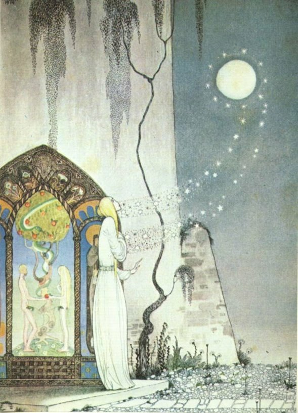 Pop! Out flew the moon    The Lassie and Her Godmother  Kay Nielsen illustration