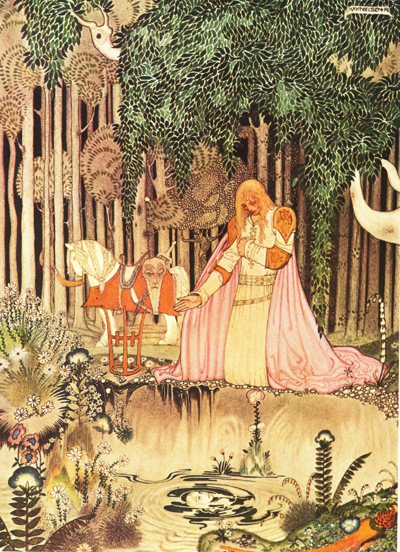He saw the image in the water    East of the Sun, West of the Moon  Kay Nielsen illustration