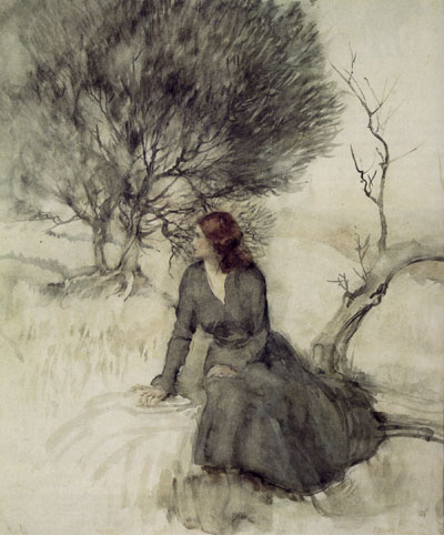 Arthur Rackham, Girl Beside a Stream - click to see bigger