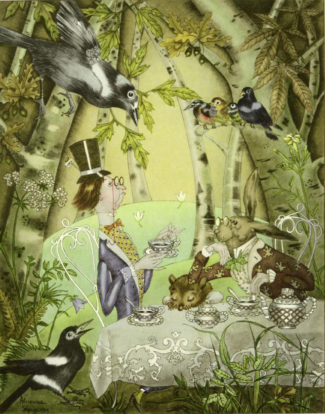 Mad Hatter Tea Party   Alice in Wonderland  Adrienne Segur illustration