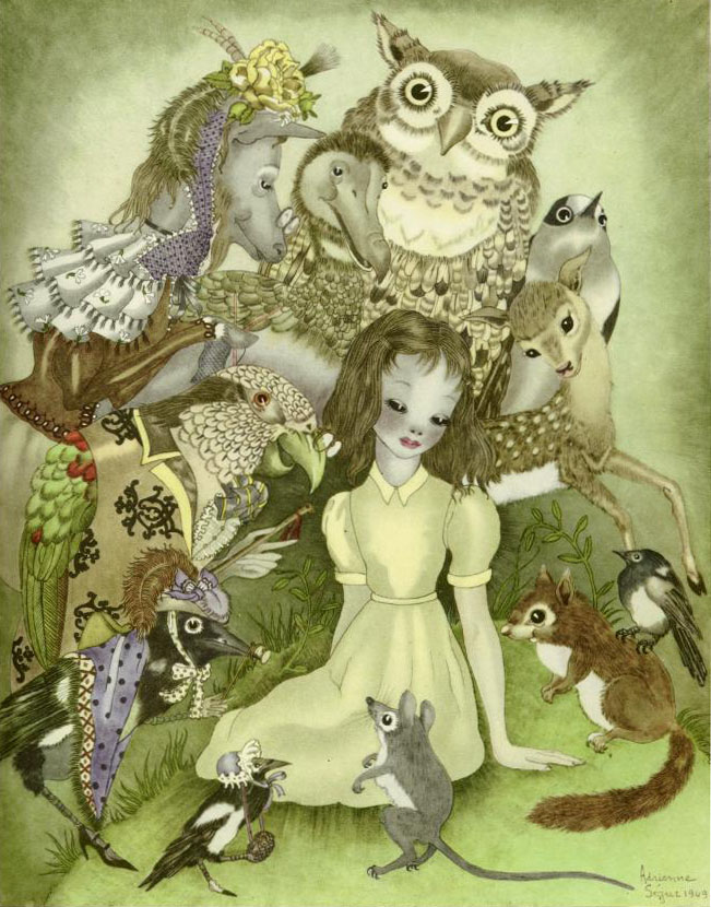 Alice and the Creatures    Alice in Wonderland  Adrienne Segur illustration