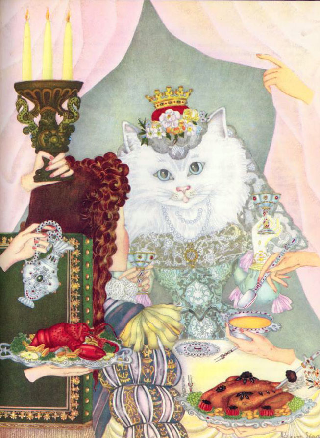 Queen Cat   The Fairy Tale Book  Adrienne Segur illustration