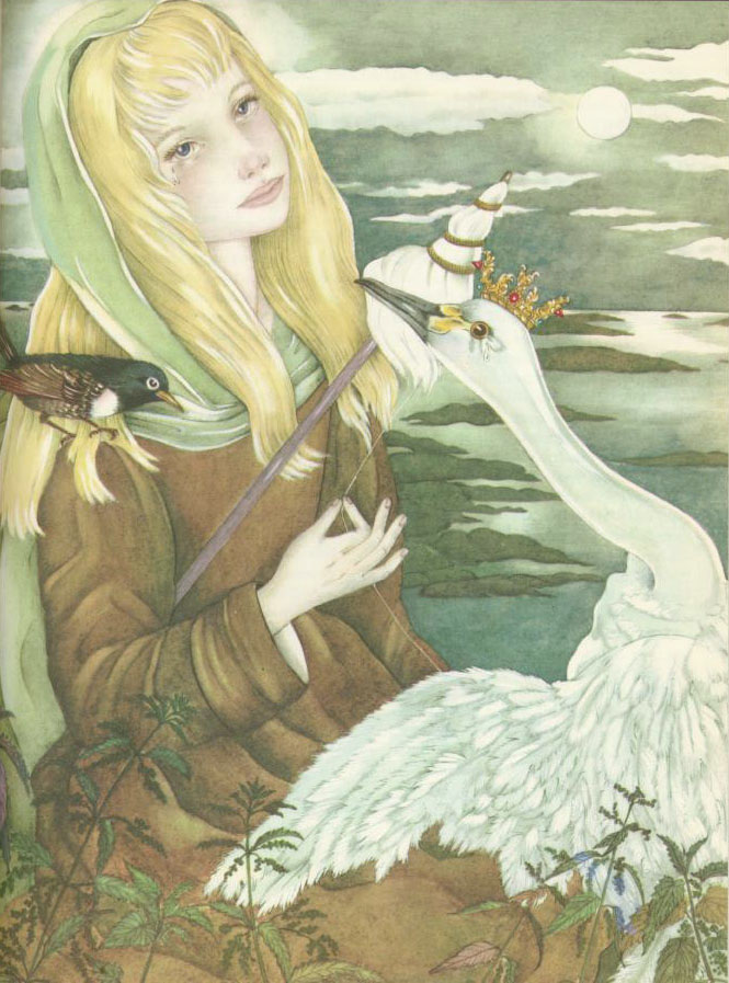 The Wild Swans illustration by Adrienne Segur