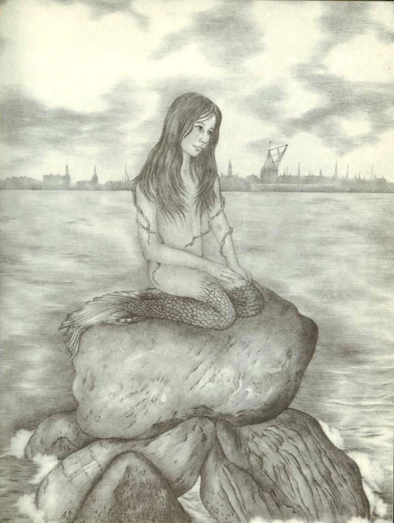 Undine as Little Mermaid  Ib and Christine  Adrienne Segur illustration