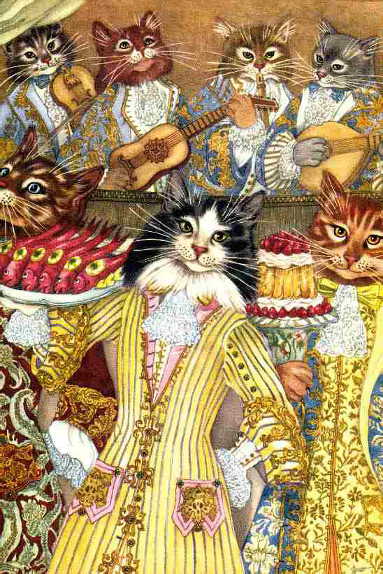 Queen Cat Musicians   My Big Book of Cat Stories  Adrienne Segur illustration