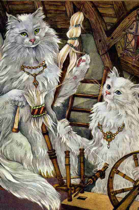 Three who Spun pt2  My Big Book of Cat Stories  Adrienne Segur illustration