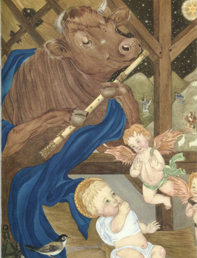 Cow Playing a Flute to the Christ Child