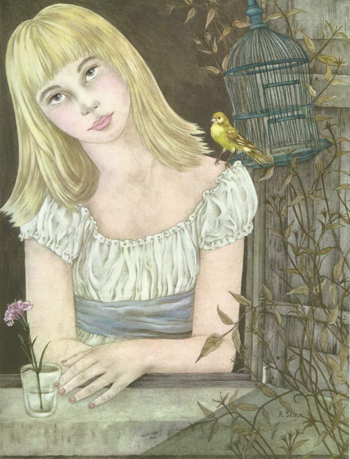 Gerda and the Bird  The Red Shoes  Adrienne Segur illustration