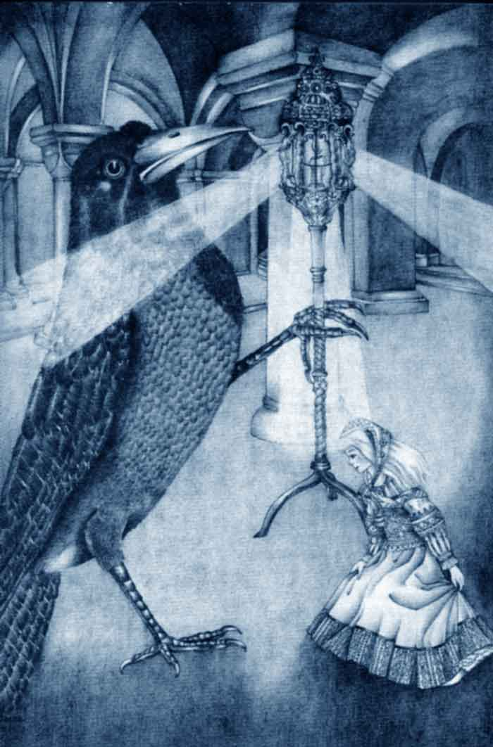 She Met a Great Raven.   The Snow Queen and Other Stories  Adrienne Segur illustration