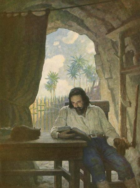 In the morning I took the Bible, and beginning at the New Testament, I began seriously to read it... From Robison Crusoe by Daniel Defoe, Illustration by N.C. Wyeth