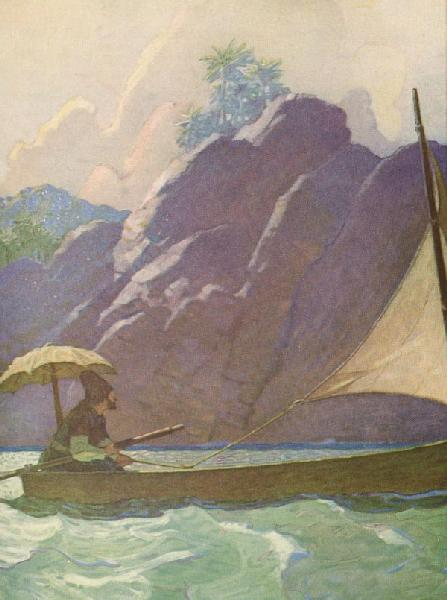 ...and thus I every now and then took a little Voyage upon the Sea...  From Robison Crusoe by Daniel Defoe, Illustration by N.C. Wyeth