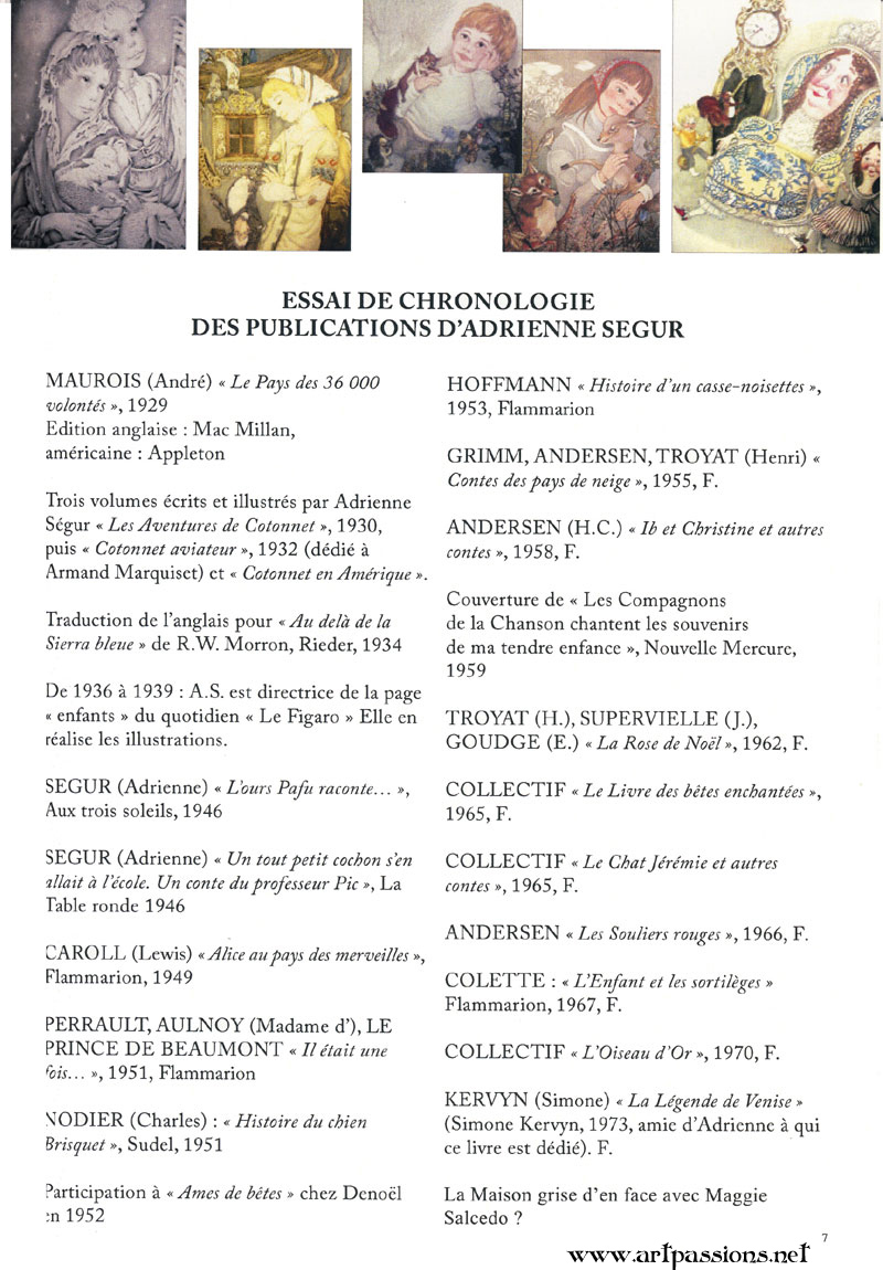 Adrienne Segur list of publications in French, with thumbnails