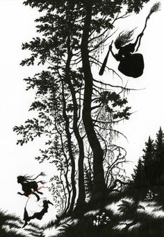 Illustration to Baba Yaga by Niroot Puttapipat