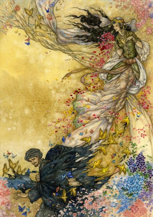 Illustration to the Rubaiyat by Niroot Puttapipat
