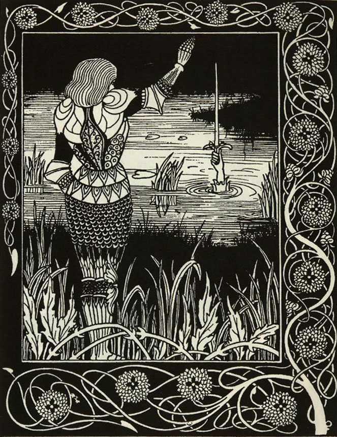 Excalibur rises from the lake, Aubrey Beardsley