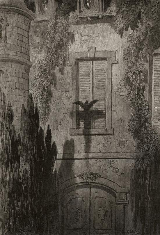 Surely that is something at my window lattice. Illustration to Edgar Allan Poe's The Raven by Gustave Dore, Elephant Folio, 1884